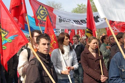 Eisenhüttenstadt: Demo von Stahlarbeitern