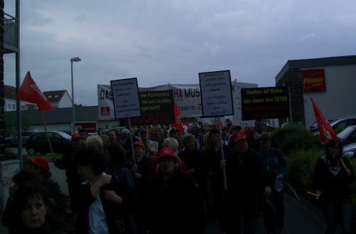 Demonstration in Vacha/Thüringen gegen Werksschließung von Nexans