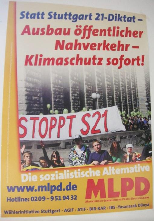 """Stuttgart: Pressewirbel um ein Flugblatt der """"Stuttgart 21""""-Gegner und die MLPD"""