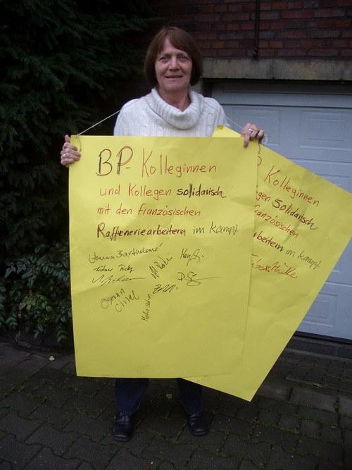 BP-Kollegen solidarisch mit streikenden Raffineriearbeitern in Frankreich