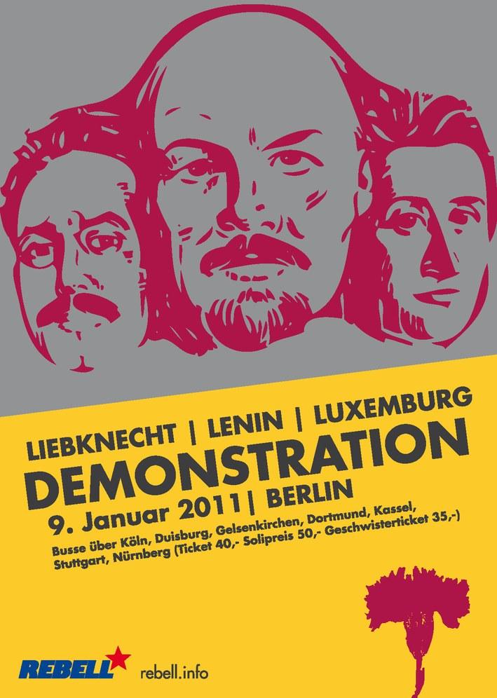 Lenin-Liebknecht-Luxemburg Demonstration am 9. Januar in Berlin