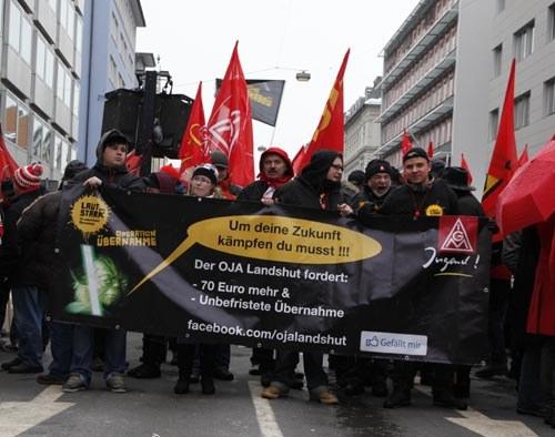 2.500 Metallarbeiter bei kämpferischer Demonstration in München