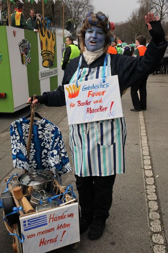 """Karneval 2012: """"Griechisches Feuer für alle, die uns das letzte Hemd nehmen wollen"""""""