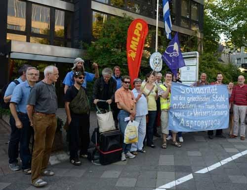 Solidaritätserklärung der Protestkundgebung vor dem griechischen Generalkonsulat in Düsseldorf