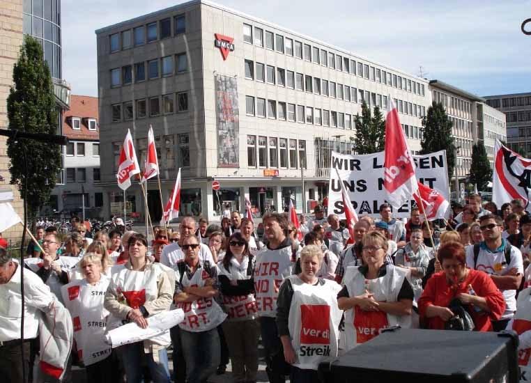 Protest der bayerischen AWO-Beschäftigten in Nürnberg