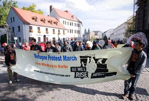Protestmarsch der Flüchtlinge erreicht Wittenberg
