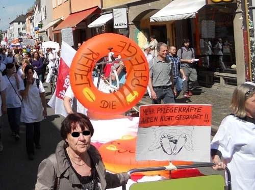 Protestaktion am Freiburger Uniklinikum