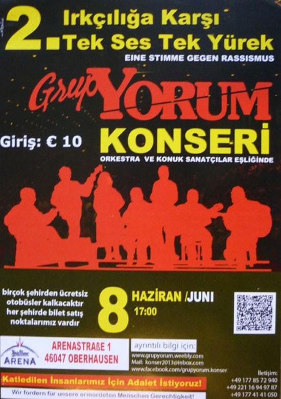 """""""Taksim ist überall"""" - so auch beim gestrigen Konzert von """"Grup Yorum"""" in Oberhausen mit begeisterter Solidarität für den Kampf der Opelaner"""