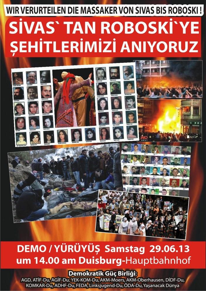 Migranten aus der Türkei und Kurdistan gedenken zweier Massaker