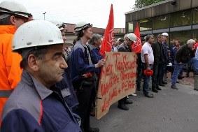 Protestversammlung bei TKSE in Duisburg