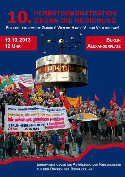 Aufruf zur 10. Herbstdemonstration gegen die Regierung am 19. Oktober in Berlin