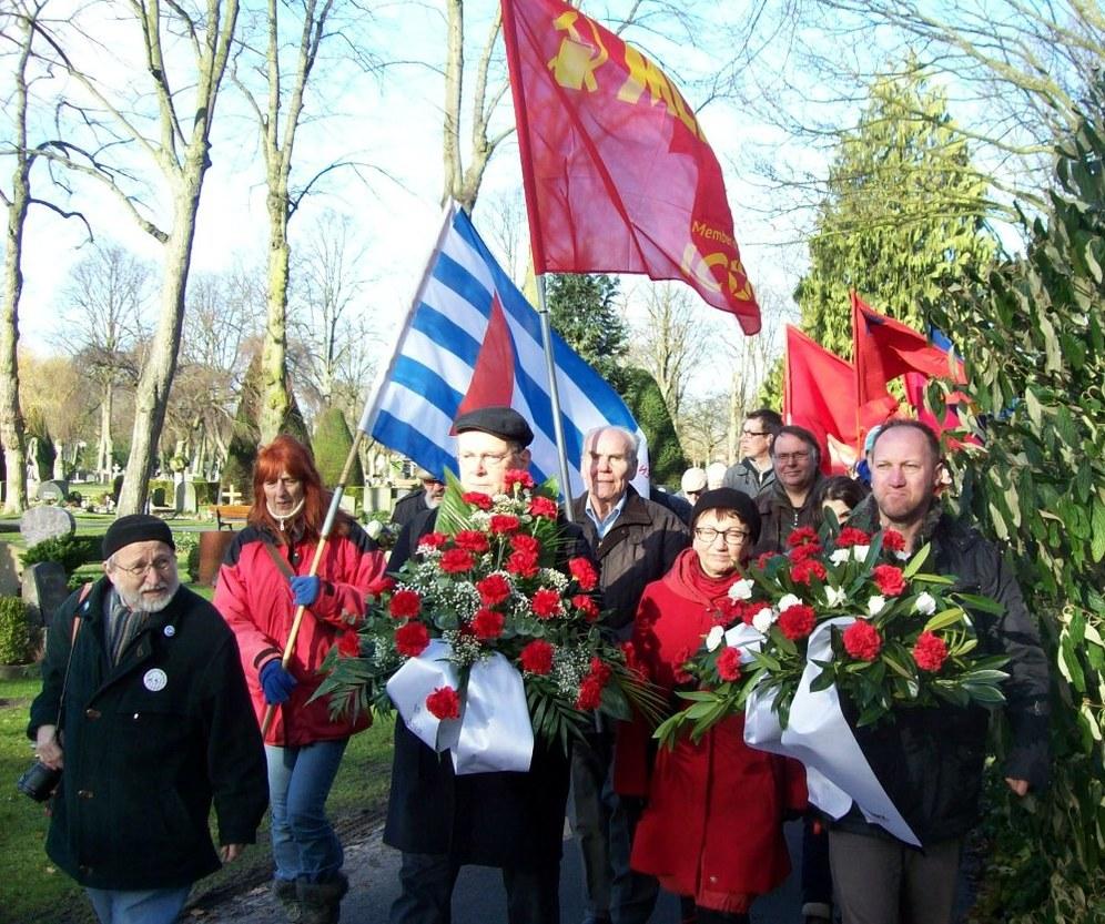 Südafrikanische Gewerkschafter beim Gedenken an die Bremer Räterepublik
