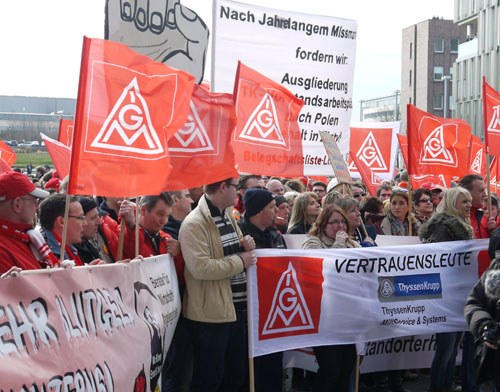 ThyssenKrupp-Aktionstag gegen Arbeitsplatzabbau und Ausgliederungen
