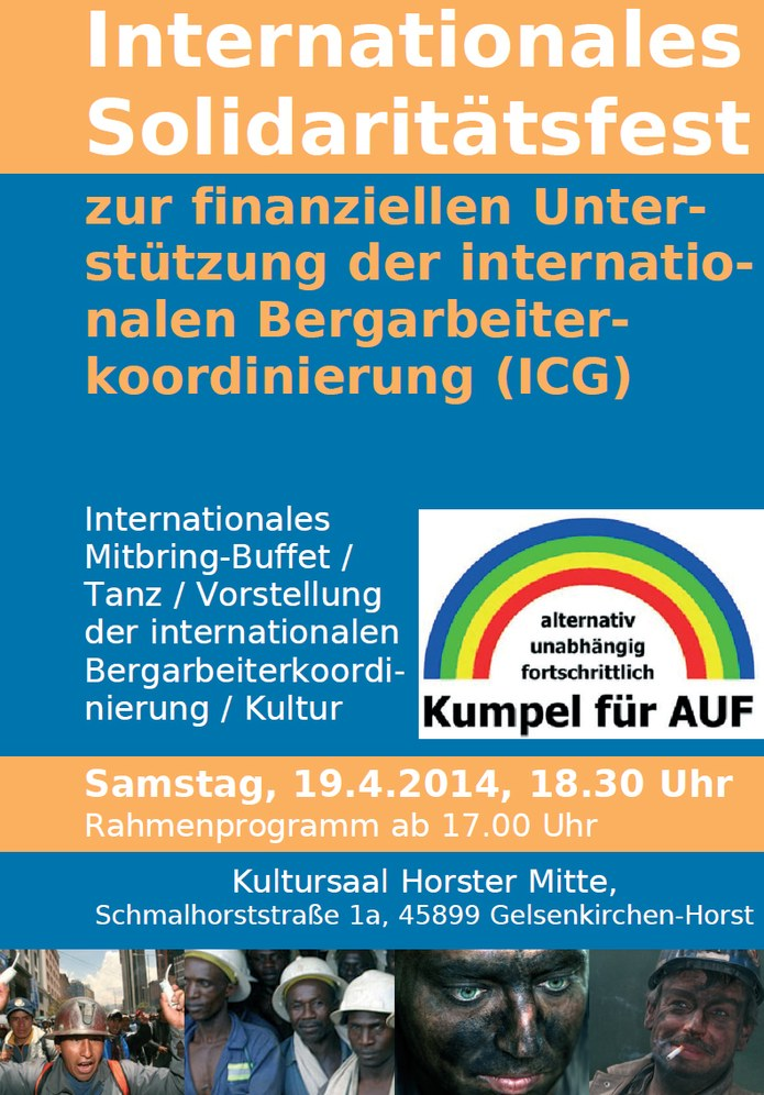 """Internationales Solidaritätsfest von """"Kumpel für AUF"""" am Ostersamstag"""