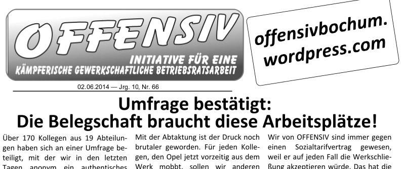 Opel Bochum - Umfrage: Die Belegschaft braucht diese Arbeitsplätze!