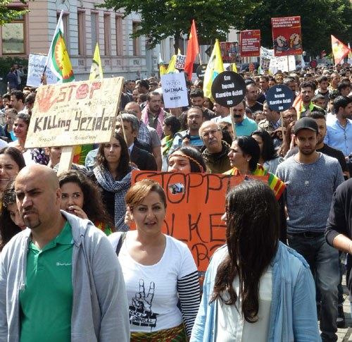 Erneut Demonstrationen zur Solidarität mit den Yeziden und Kurden im Irak