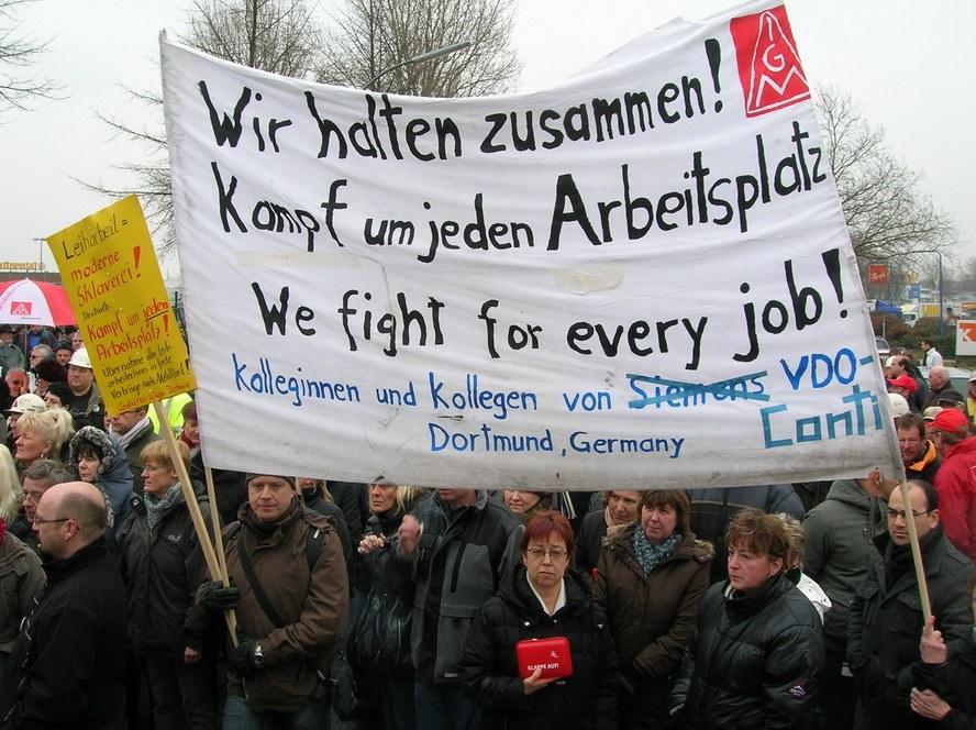 Solidarität mit den entlassenen Kolleginnen und Kollegen bei Continental Automotive Dortmund (ehem. VDO)