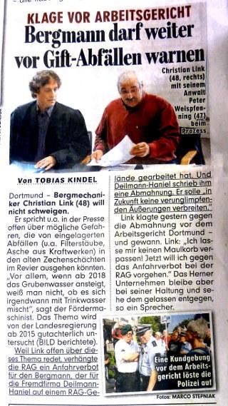 18.09.14 - BILD-Zeitung berichtet über Christian Link