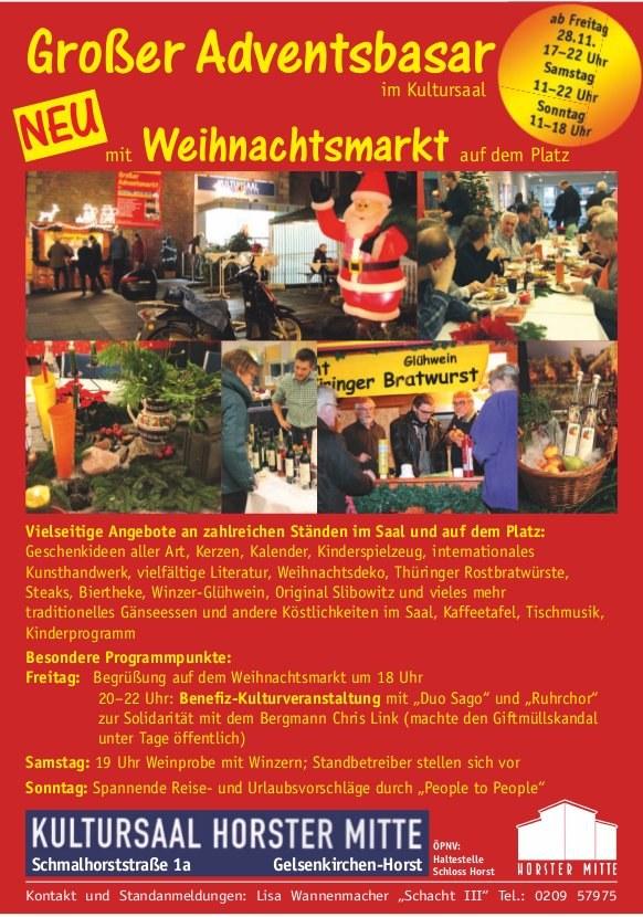 """Großer Adventsbasar im Kultursaal der """"Horster Mitte"""" in Gelsenkirchen - diesmal mit Weihnachtsmarkt"""