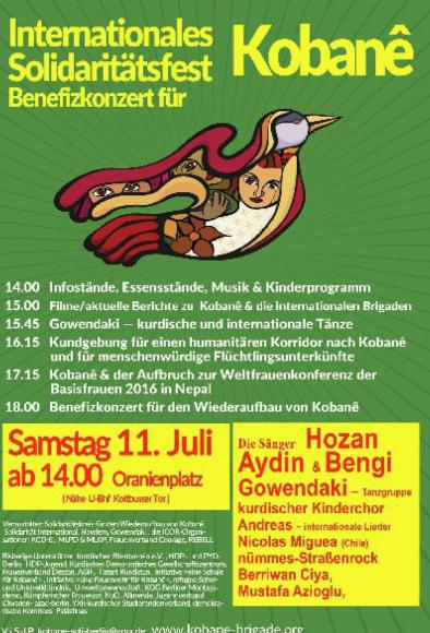 Berlin: Internationales Solidaritätsfest und Benefizkonzert für einen humanitären Korridor