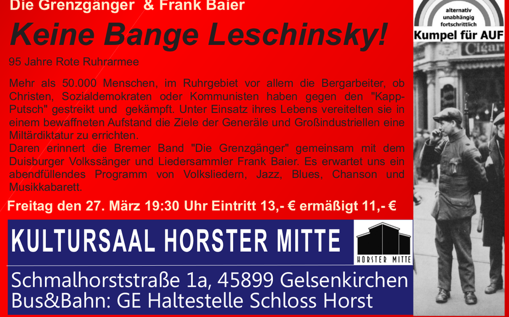 """Frank Baier und """"Die Grenzgänger"""" kommen - """"eine mitreißende musikalische Geschichtsstunde"""""""