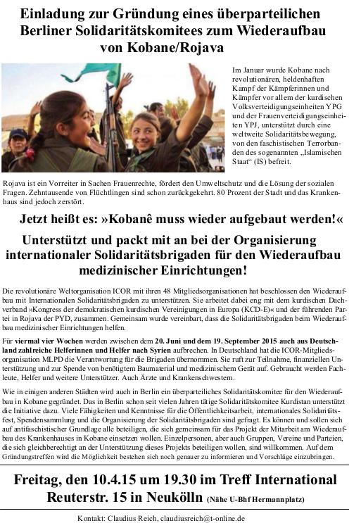 Berliner Solidaritätskomitee zum Wiederaufbau von Kobanê/Rojava gründet sich am 10. April