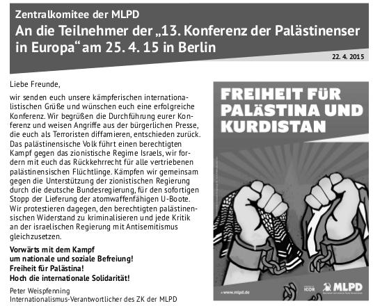 """Zentralkomitee der MLPD erklärt sich solidarisch mit """"13. Konferenz der Palästinenser in Europa"""" am 25. April in Berlin"""