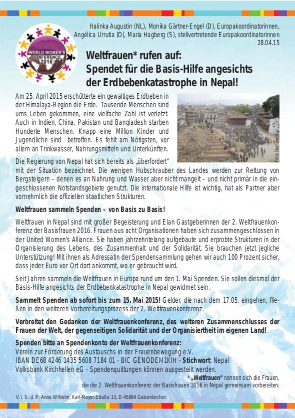 """Solidarität der """"Weltfrauen"""" mit den Erdbebenopfern in Nepal"""