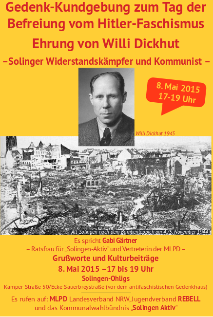 Solingen: Ehrung für Willi Dickhut am 8. Mai