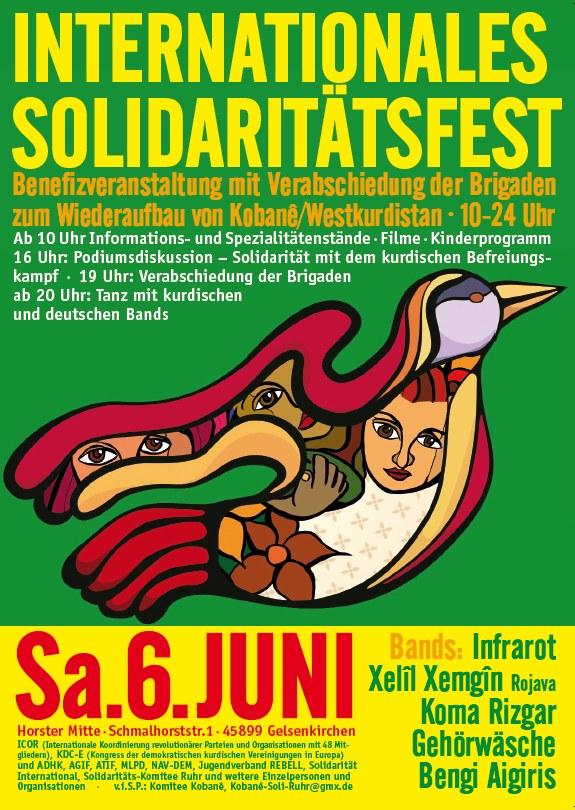 Großes Internationales Solidaritätsfest am 6. Juni – Solidaritätsbrigaden für Kobanê werden feierlich verabschiedet