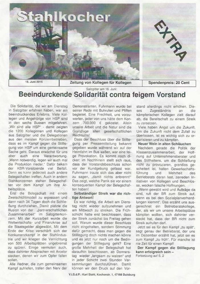 """HSP: """"Beeindruckende Solidarität contra feigem Vorstand"""""""