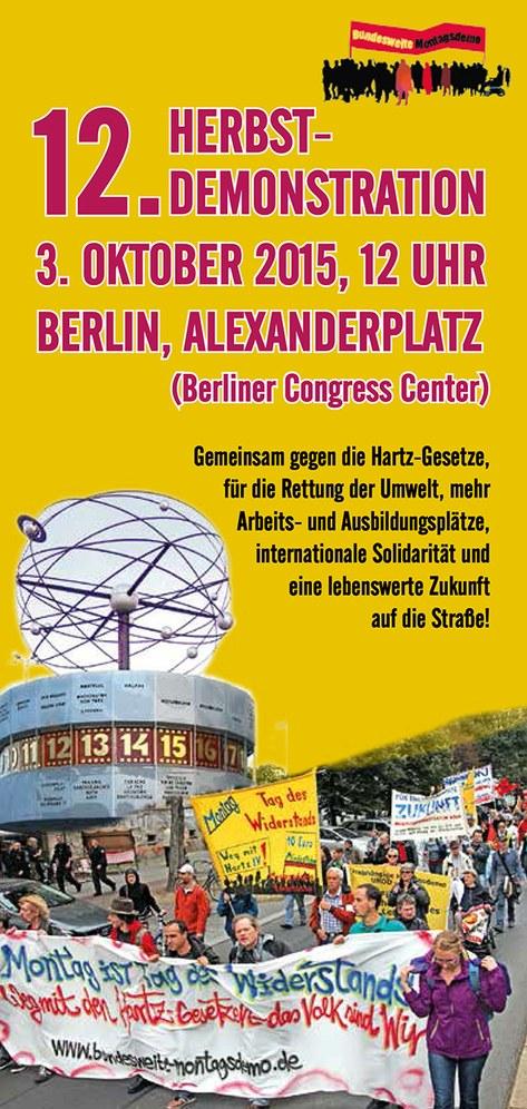 Aufruf zur 12. Herbstdemonstration am 3. Oktober in Berlin