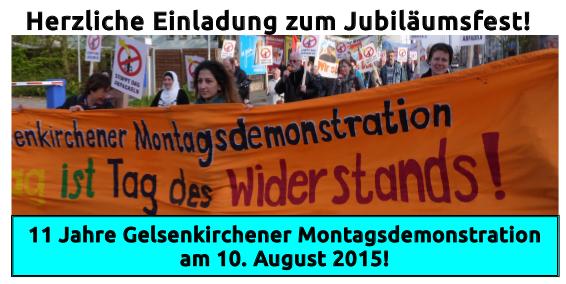 Gelsenkirchener Montagsdemo lädt am 10. August zum Jubiläumsfest ein