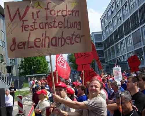 IG-Metall-Aktionstag gegen Werkverträge in Automobil-Betrieben