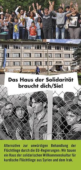 """Neu - Werbeflyer zum """"Haus der Solidarität"""": """"Das Haus der Solidarität braucht Dich/Sie!"""""""