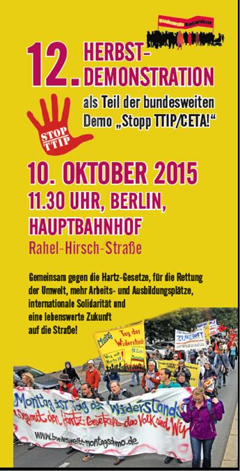 Bundesweite Montagsdemo ruft auf: Flüchtlinge breit an der Demo am 10. Oktober in Berlin beteiligen!