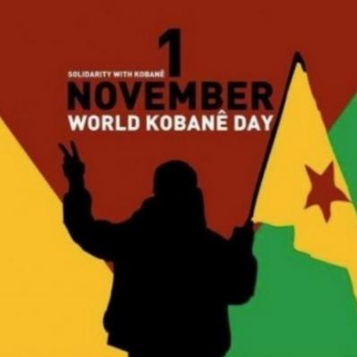 Berlin: Am 1. November 2015  zur Demonstration für die Freiheit und den Wiederaufbau von Kobanê