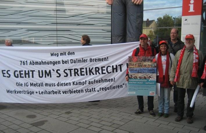Daimler-Arbeiter aus Bremen und Sindelfingen solidarisch gegen 761 Abmahnungen