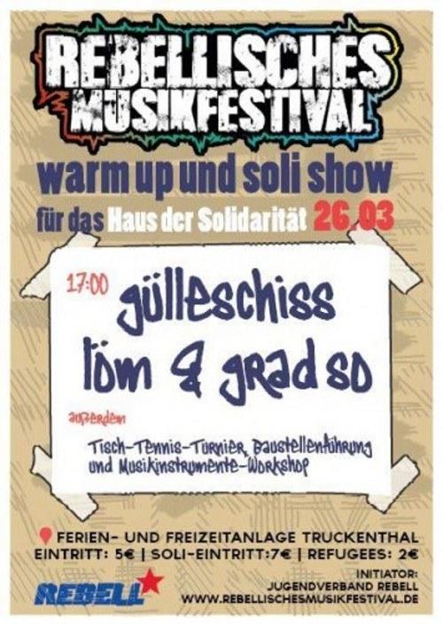 Rebellisches Musikfestival: Soli-Konzert am 26. März in Truckenthal