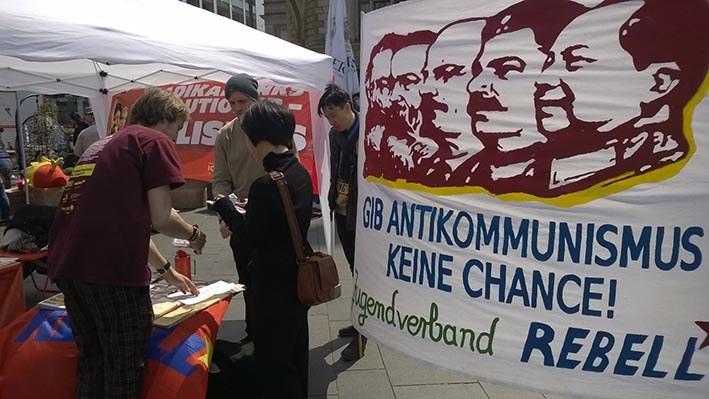 Halle: MLPD und Jugendverband REBELL mitten auf der DGB-Kundgebung