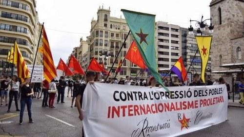 """""""Weg mit dem Verbot der PML(RC)! Freiheit für die spanischen Internationalisten!"""""""