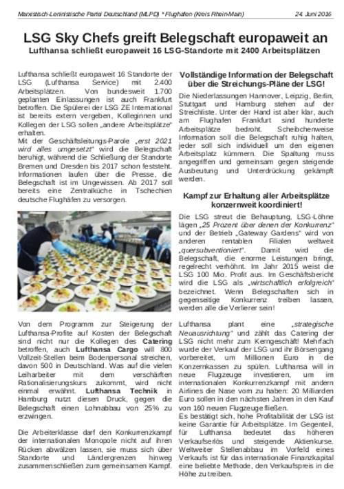 """Frankfurt am Main: """"LSG Sky Chefs greift Belegschaft europaweit an"""""""