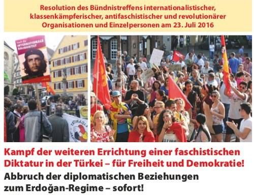 """Resolution: """"Kampf der weiteren Errichtung einer faschistischen Diktatur in der Türkei..."""" jetzt auch als Flugblatt"""