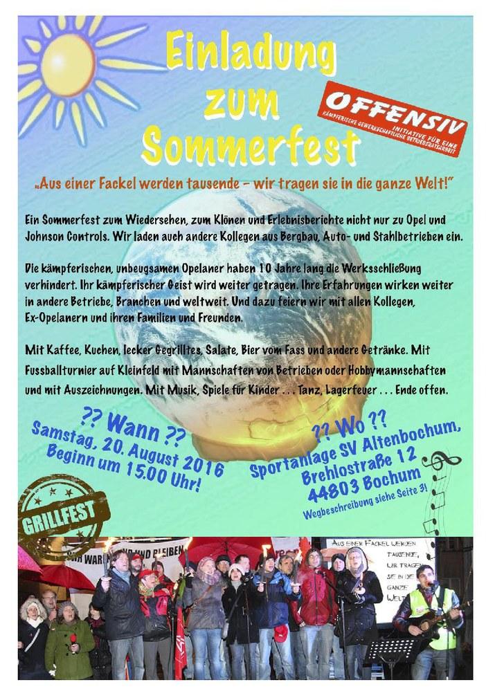 Sommerfest von OFFENSIV am 20. August