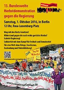 Aufruf zur 13. Herbstdemonstration am 1. Oktober 2016 in Berlin