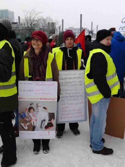 Erneute Protestaktion gegen Arbeitsplatzvernichtung bei Globalfoundries Dresden