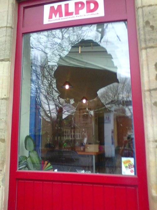 Feige Attacke auf das MLPD-Büro in Nürnberg