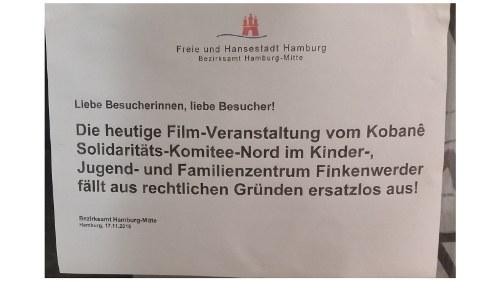Bezirksamt Hamburg-Mitte verbietet Kobanê-Film-Veranstaltung