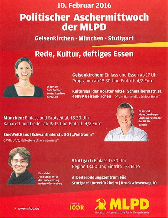 Politischer Aschermittwoch der MLPD findet statt - auch in Bayern