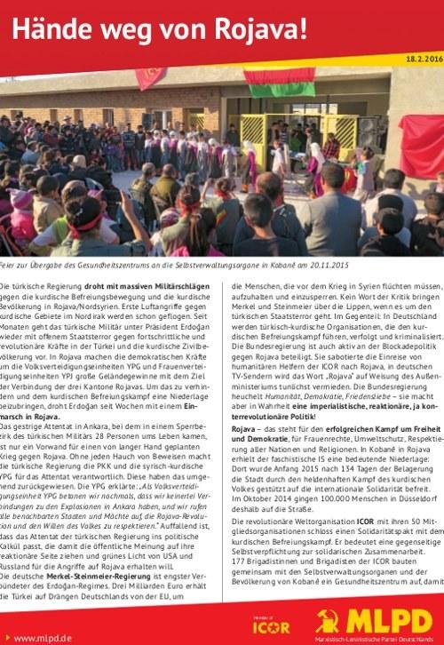 """Flugblatt """"Hände weg von Rojava!"""""""